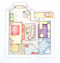 Interior design apartments - top view. Royalty Free Stock Photos