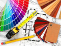 Interior design architectural materials measuring tools blueprints d Royalty Free Stock Images