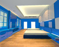 Interior design bedroom blue theme mock up for minimalist with wall and wooden floor ideal for background Royalty Free Stock Photography