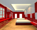 Interior design bedroom red theme mock up for minimalist with wall and wooden floor ideal for background Stock Photos