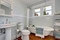 Interior design of craftsman bathroom with pastel blue walls Royalty Free Stock Photo