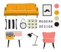 Interior design. mid century modern furniture. vector elements set.