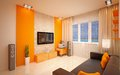 Interior design modern living room bright orange shades Stock Photos