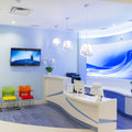 Interior design reception in a clinic Stock Images