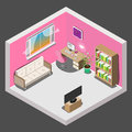 Interior design of room for girl in isometric