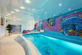 Interior design in spa zone with mosaic swimming pool Royalty Free Stock Photo