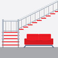 Interior Design Stairs With Sofa Royalty Free Stock Photo