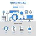 Interior design studio concept flat line art vector icons Royalty Free Stock Photo