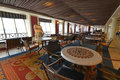 Interior dining cruise ship ceramic and leather seats Royalty Free Stock Photos