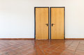 Interior empty room with two doors architecture terracotta floor Royalty Free Stock Photo