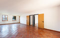 Interior empty room with two doors architecture terracotta floor Royalty Free Stock Photography