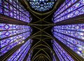 Interior Famous Saint Chapelle, Details Of Beautiful Glass Mosaic Windows