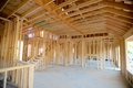 Interior Frame of a Suburban Home Under Construction Royalty Free Stock Photo