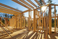 Interior framing of a new house Stock Image