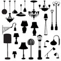 Interior furniture icons. Ceiling lamp silhouette icon set. Royalty Free Stock Photo