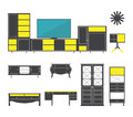 Interior and furniture icons set in flat design. Vector.