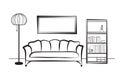 Interior furniture with sofa, floor lamp, book shelf, books and