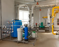 Interior gas boiler house with a water treatment system, with ma Royalty Free Stock Photo