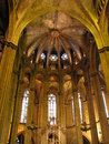 Interior of the gothic Barcelona Cathedral (Spain) Royalty Free Stock Photo