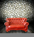 Interior grunge room with classic sofa Royalty Free Stock Images