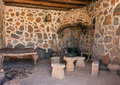 Interior with hearth of ancient room in cave Royalty Free Stock Photo