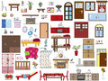 Interior home illustration of furnishing Royalty Free Stock Photo