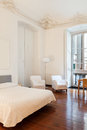 Interior hotel double room beautiful in historic building Royalty Free Stock Image