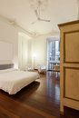 Interior hotel double room beautiful in historic building Royalty Free Stock Photos