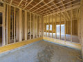 Interior house construction with framing just put up Royalty Free Stock Image