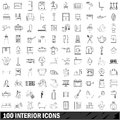 100 interior icons set, outline style