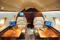 Interior of jet airplane