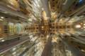 Interior of La Sagrada Familia Stock Photography