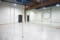 Interior of modern dancing studio for pole dance.