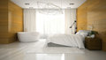 Interior of modern design badroom with bathtub 3D rendering