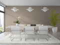 Interior of modern design dining room with palm d rendering Royalty Free Stock Images