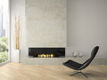 Interior of modern  design loft  with fireplace 3D rendering Royalty Free Stock Photo