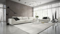 Interior of modern design room with white couch 3D rendering Royalty Free Stock Photo