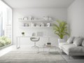 Interior of modern design white office 3D rendering Royalty Free Stock Photo