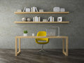 Interior of modern office room  with yellow armchair 3D rendering Royalty Free Stock Photo