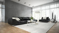 Interior of modern room with black couch 3D rendering 2