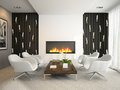 Interior of modern room with white armchairs d rendering photos on the wall was designed by me Royalty Free Stock Images