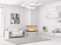 Interior of modern white room d render with armchair and fireplace Stock Photo