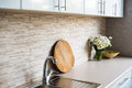 Interior of new bright white home kitchen Royalty Free Stock Photo