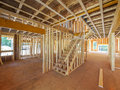 Interior new house framing of a under construction Royalty Free Stock Photos