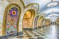 Interior of Novoslobodskaya subway station in Moscow, Russia Royalty Free Stock Photo