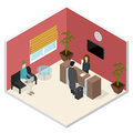 Interior Office or Hotel Reception Isometric View. Vector