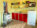 Interior of an old batch holiday home Kitchen in New Zealand. Royalty Free Stock Photo