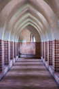 Interior of old empty hall arch of castle medieval architecture architectural detail or monastery Royalty Free Stock Images