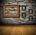 Interior with old frames on wall Royalty Free Stock Photo