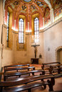 Interior of old small catholic church Royalty Free Stock Photo